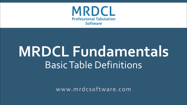 Basic Tables definitions
