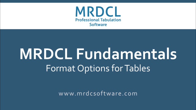 Format options for tables