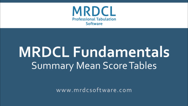 Mean score summary tables