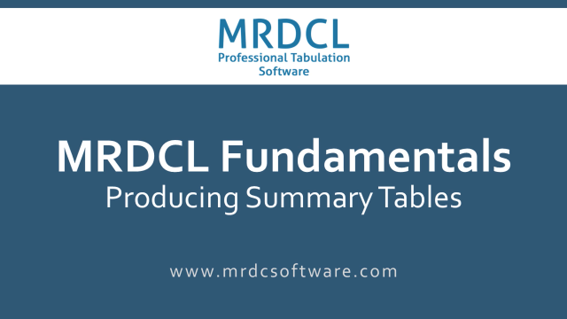 Producing summary tables
